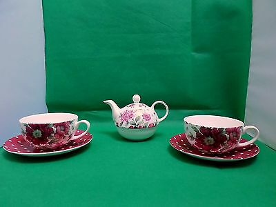 Laura Ashley Hand Decorated Teapot For One, Cup & Saucer x 2