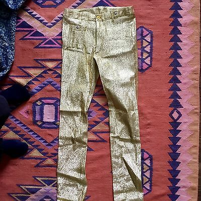 Vintage High Waisted Sparkly Gold Pants