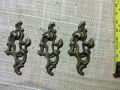 ornate cast brass escutcheons x 3, antique or vintage (LT4)