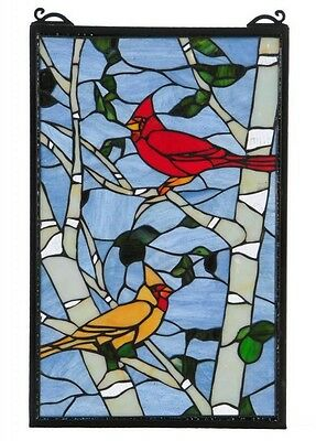 Stained Glass Panel for Window Suncatchers Decorations Victorian Birds Nature