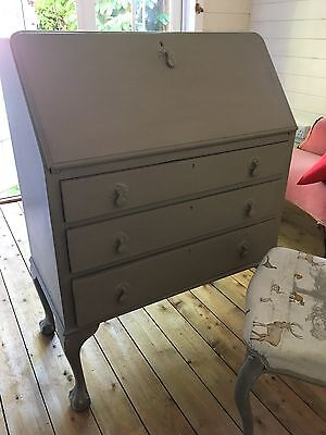 Vintage Shabby Chic Rustic Writing Bureau/Desk with Antique Chair