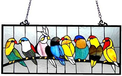 Stained Glass Tiffany Style Bird Window Panel Suncatcher Hanging Art Victorian