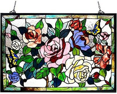 Stained Glass Panel for Window Tiffany Style Suncatchers Roses Floral Victorian