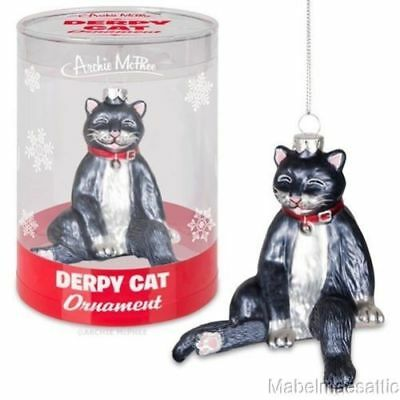 New Handpainted Glass Black & White Tuxedo Tux Cat Kitten Derpy Cat Ornament
