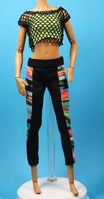 Sparkle Girlz Black Mesh Yellow Green Print Leggings Halter Made to Move Barbie