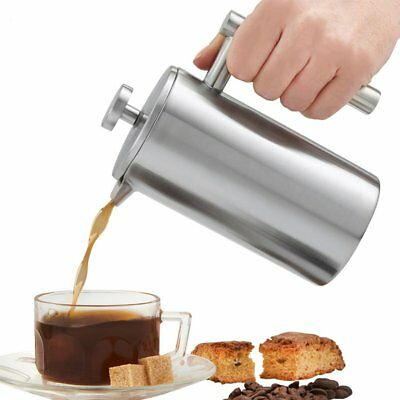 350ML 2 Layers Stainless Steel French Press Cafetiere Filter Coffee Maker Pot UK