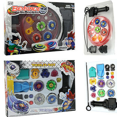 New 4D Fusion Top Metal Master Rapidity Fight Rare Beyblade Launcher Grip Set UK