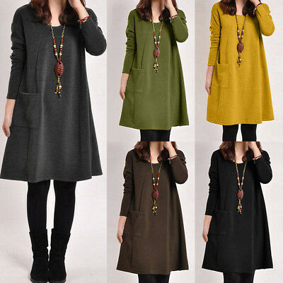 M-2XL femmes Casual vrac manches longues Skater Mini-jupe robe automne-hiver