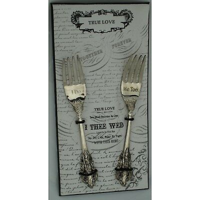 I Do and Me Too Silver Fork Set Bride Groom Gift 3