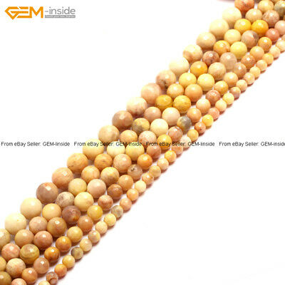 """New Natural Round Loose Beads Faceted Yellow Sunstone Beads Strand 15"""" Wholesale"""