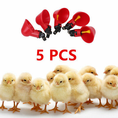 5Pack Poultry Water Drinking Cups Chicken Hen Chick Plastic Automatic Drinker