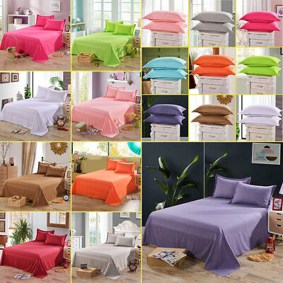 Cotton Flat Sheets Comfort Solid Color Bed Covers & Pillowcase Twin Full Queen