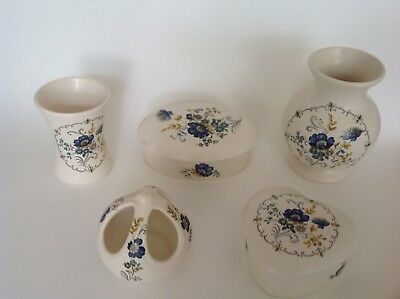 5 Pieces of Vintage Purbeck Pottery Items all decorated with blue flowers