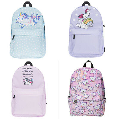 Girl Multi Color Rainbow 3D Unicorn Printing Backpack School Bag Travel Rucksack