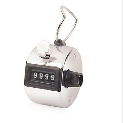Tally Counter Hand Held Clicker 4 Digit Chrome Palm Golf People Counting Club GP