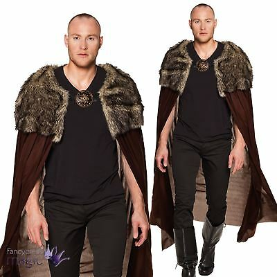 Adults Fur Cape Game Of Thrones Fancy Dress Costume John Snow Night Watcher Long