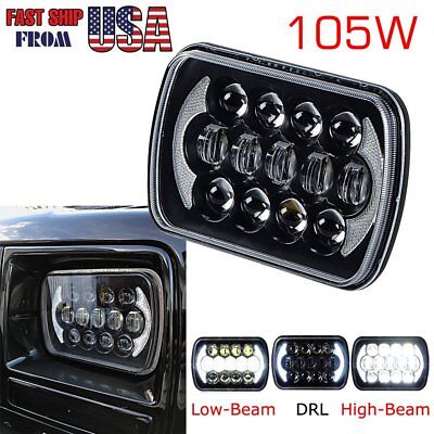 105w 7x6/5x7 Osram LED Rectangle Headlights/Lamp Jeep YJ Sealed Beam Black