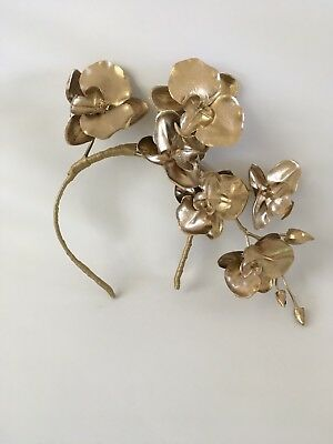 Gold Orchid Fascinator Melbourne Cup Spring Racing Weddings