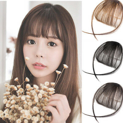 Thin Neat Air Bangs Human Hair Extension Clip In Fringe Front Hairpiece Uk