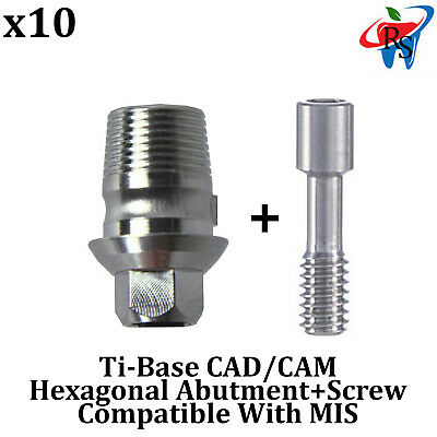 10x Dental Implant CAD/CAM Connection Ti-Base abutment Int Hex MIS Compatible