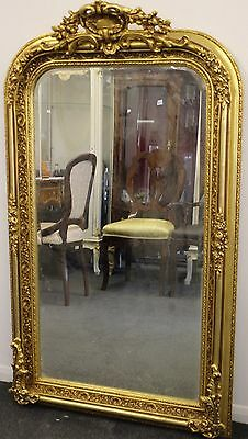 Antique Vintage Style Large Louis Carved Gold French Rococo Mirror Beveled C368