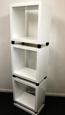 White Antique Art Deco Style Bookcase In Library Shelf Unit - C274