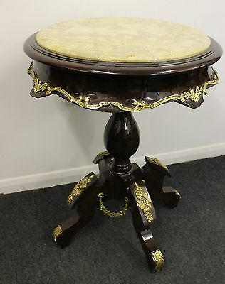 ANTIQUE FRENCH STYLE FURNITURE - ROUND TABLE WITH MARBLE AND BRASS - Home - C407