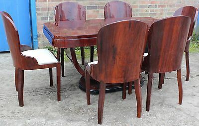 Antique Art Deco Style Table With 6 Mathing Chairs In Rosewood Dining Room - 401