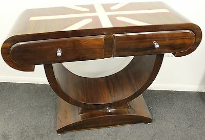 Antique Art Deco Style Inlaid Console Hall Table In Rosewood With 2 Drawers C404