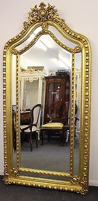 Antique Vintage Style Large Louis Carved Gold French Rococo Mirror Beveled C375