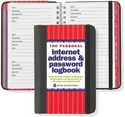 Hard Cover Password Log Book and Internet Address Personal Spiral Organizer Note