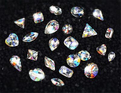 AAAAA Crystal glass Rhinestone pointed back Nail Art cabochons supplies clear AB