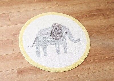 ***bnwt Neutral Cute Elephant Rug /nursery /girl Or Boy***