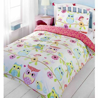 Owl & Friends Junior Duvet Cover & Pillowcase Set Kids Free P+P New