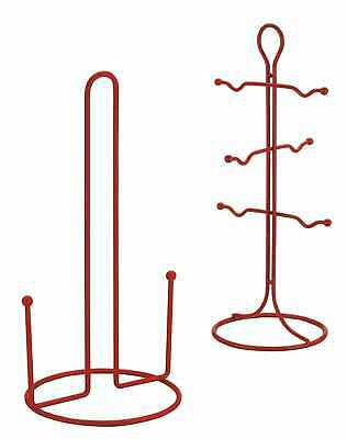 Kitchen Towel Paper Roll Holder Pole And 6 Cup Mug Tree Stand Holder Red Metal