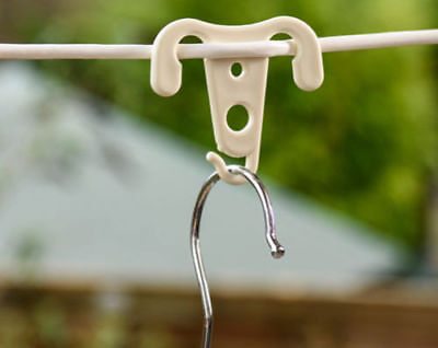 WASHING LINE CLOTHES HANGER LAUNDRY HOOKS PEGS - WHITE  - Choice of pack sizes