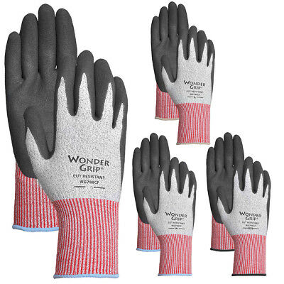 4 Pairs Men's Wonder Grip A4 Cut Resistant Work Gloves Heavy Duty Nitrile Coated