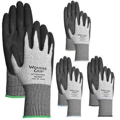 4 Pairs Men's Wonder Grip A2 Cut Resistant Work Gloves Heavy Duty Nitrile Coated