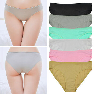 Ladies Knickers Cotton Low Rise Solid Women Underwear Basic Girls Briefs UK 6-12