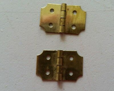 "Pair of tiny solid brass hinges 1/2"" X  3/4""  doll child jewelry box (?) (343)"