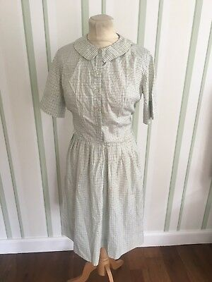 Vintage 50's Cream Check  Summer Shirt Waister Dress Uk 8 Small