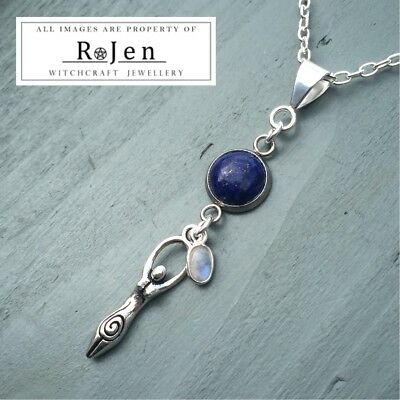 Silver Plated Lapis Lazuli & Rainbow Moonstone Goddess Pendant Wicca Witch Pagan