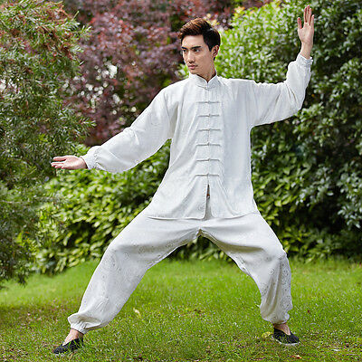 New Handsome Chinese Style Men's Kung Fu Suit Tai Chi Clothing White W2526-2#