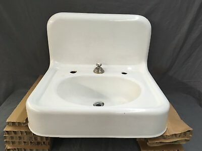 "Antique Hign Back 24"" Cast Iron White Porcelain Wall Mount Bath Sink Vtg 625-17E"
