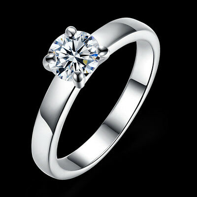 925 Sterling Silver Cubic Zircon Crystal Engagement Ring Size 6/7/8/9