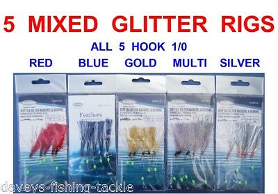 6 GOLD SPARK HERRING MACKEREL GLITTER BOAT FISHING FEATHER LURES sz 1//0