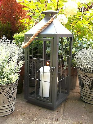 Extra Large Vintage Style French Grey Metal Lantern Candle Holder Garden / Home