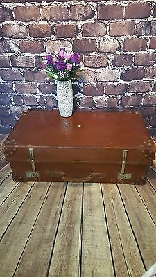 Antique Vintage Expandit Leather Storage Luggage Suitcase Coffee Table Trunk