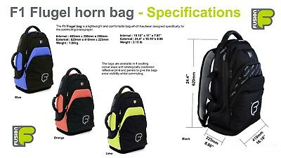 Flugelhorn Gig Bag Backpack Inner Sleeve, Black, Blue, Orange, Green - Fusion F1