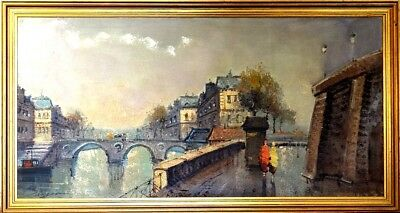 Rare ca.1945 French School Paris Seine River Banks Painting Oil/Canvas/Frame Sig